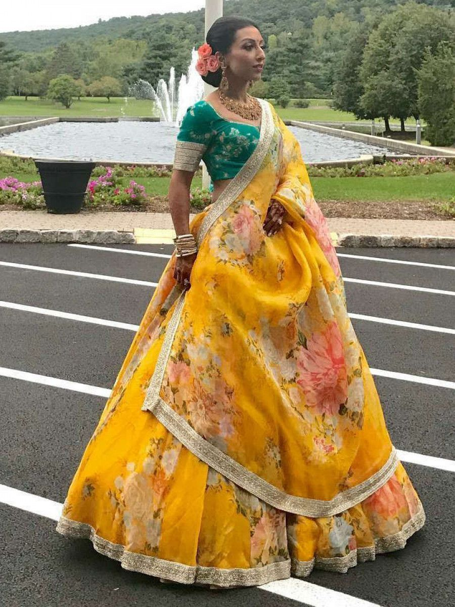 Green-Yellow Floral Digital Printed Organza Bridal Lehenga Choli
