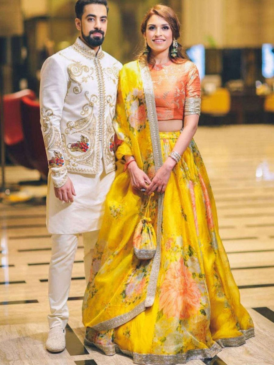 Yellow Floral Digital Printed Organza Bridal Lehenga Choli