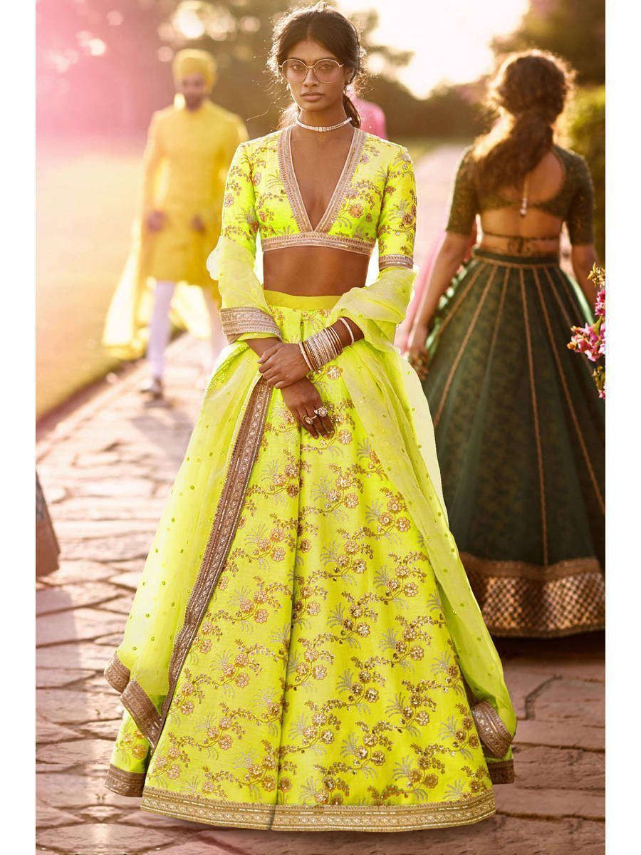 Neon Embroidery Thai Silk Bridal Lehenga Choli