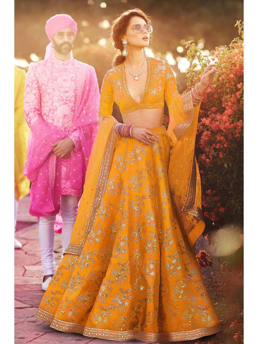 Yellow Embroidery Thai Silk Bridal Lehenga Choli