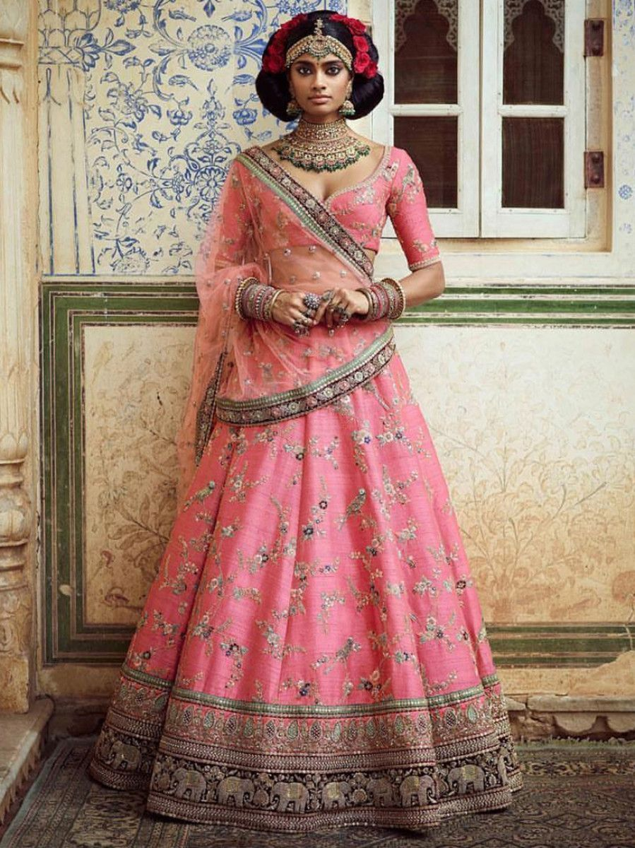 Pink Embroidered Art Silk Bridal Lehenga Choli