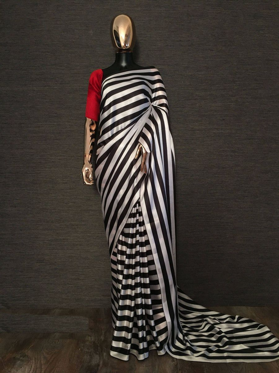 Black Striped Satin Silk Party Wear Saree With Red Blouse