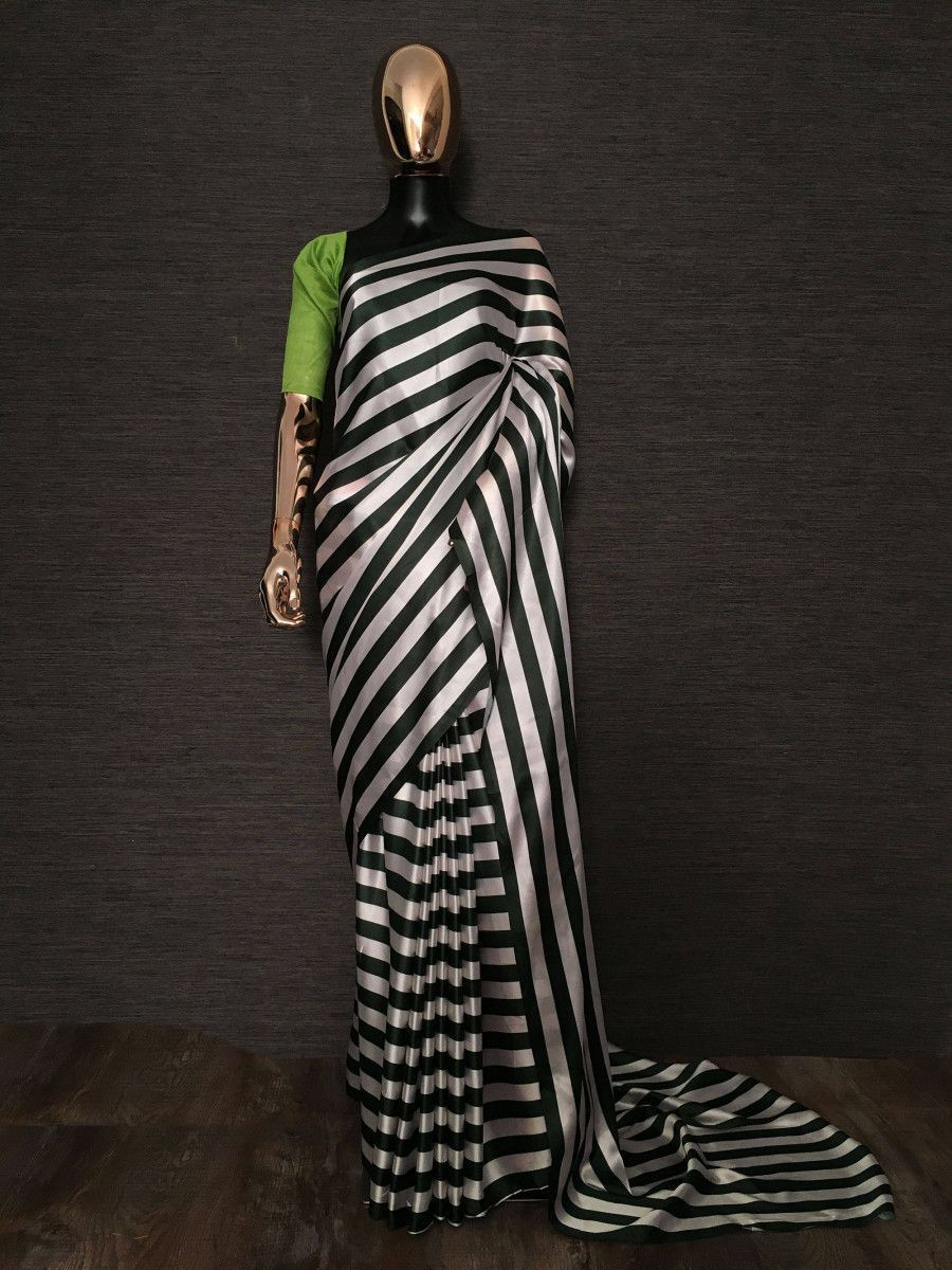 Dark Green Striped Satin Silk Party Wear Saree With Green Blouse