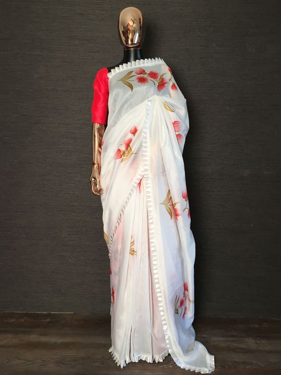 White Floral Chanderi Cotton Party Wear Saree With Blouse