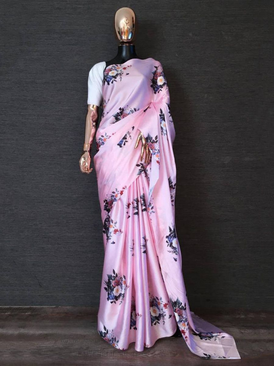 Baby Pink Floral Japan Satin Silk Party Wear Saree