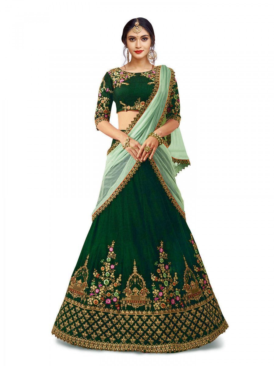 Dark Green Embroidered Taffeta Silk Bridal Lehenga Choli
