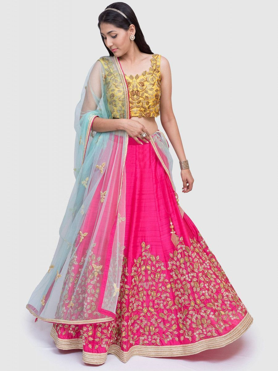Pink Thread Embroidery Mulberry Silk Bridal Lehenga With Yellow Choli