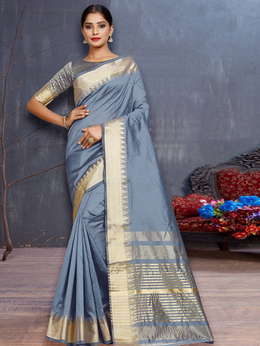 Grey Assam Silk Festival Wear Saree