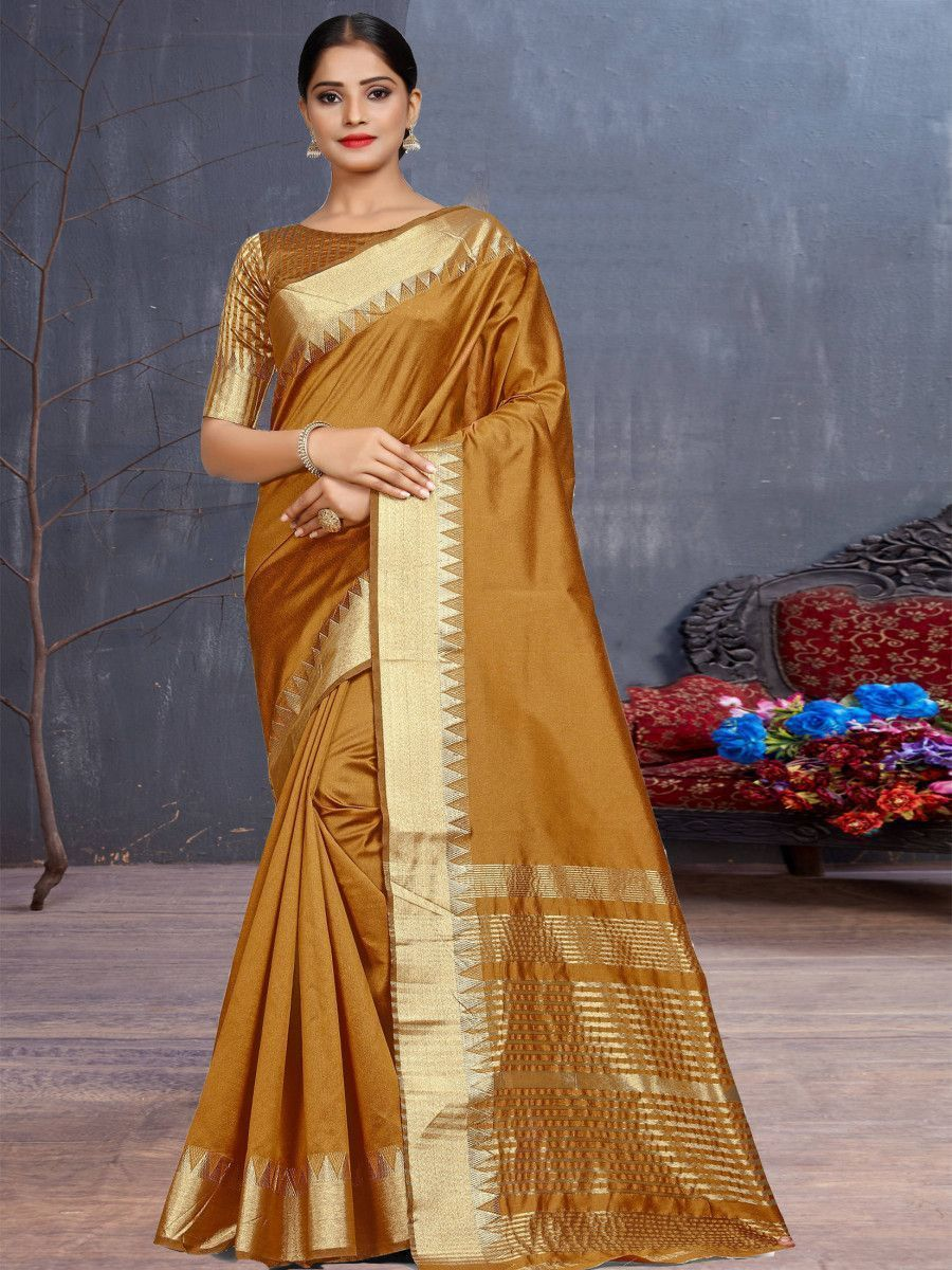 Mustard Yellow Assam Silk Festival Wear Saree