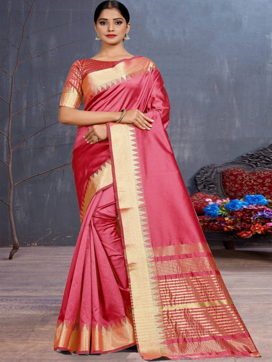 Pink Assam Silk Festival Wear Saree