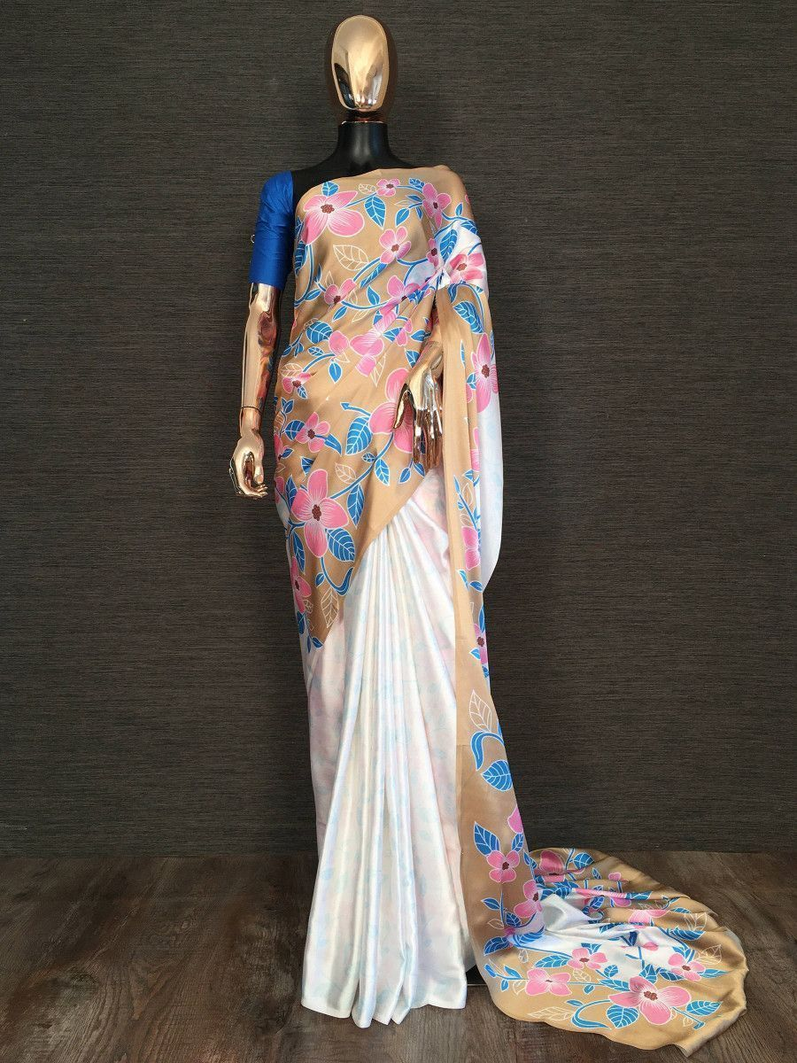 Brown-White Floral Printed Satin Party Wear Saree With Blouse