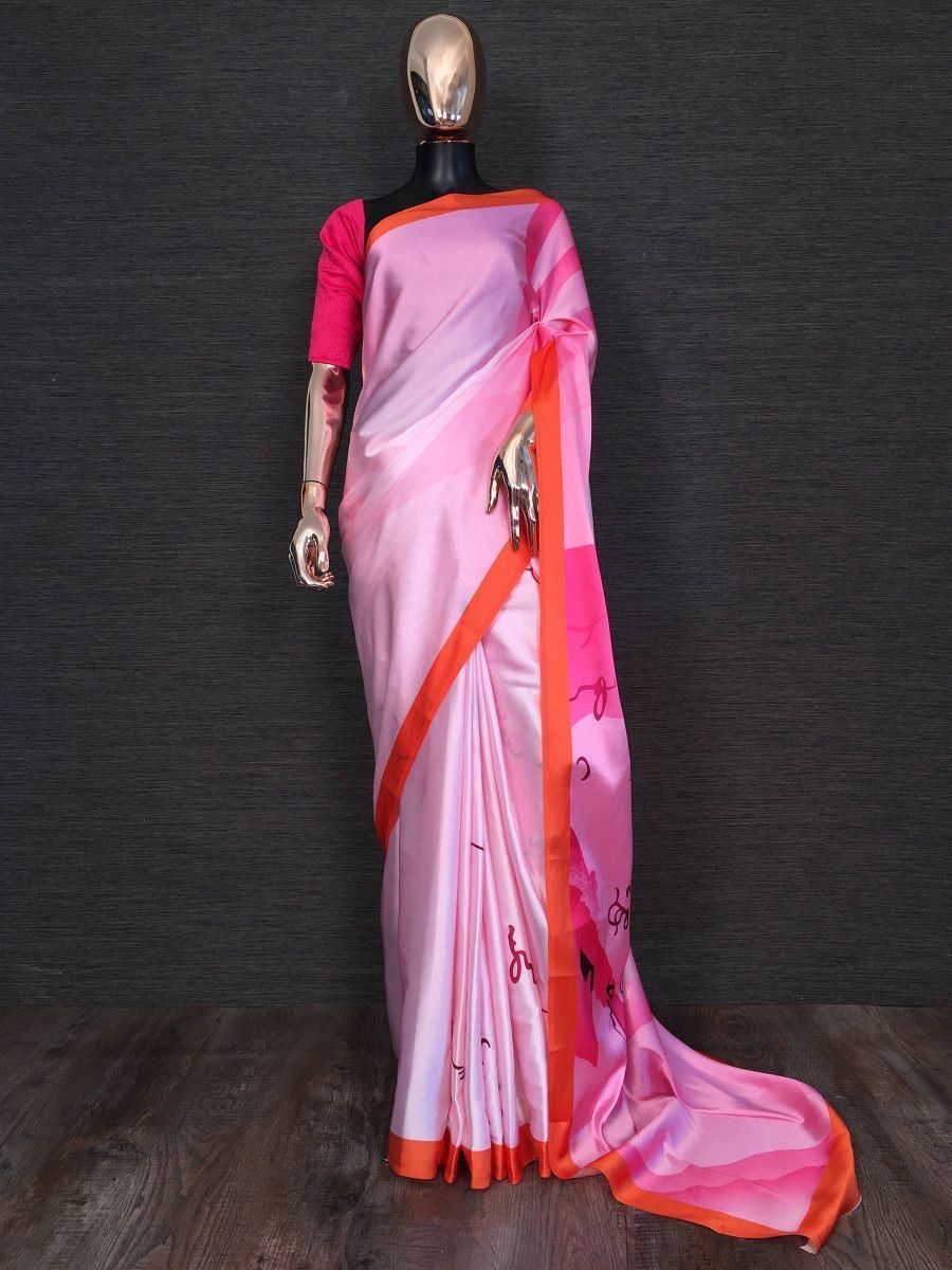 Pink Printed Satin Silk Festival Wear Saree With Blouse