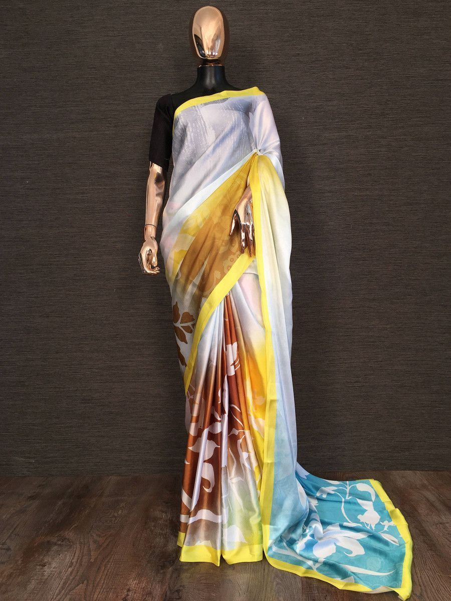 Multi-Color Floral Printed Festival Wear Saree With Blouse