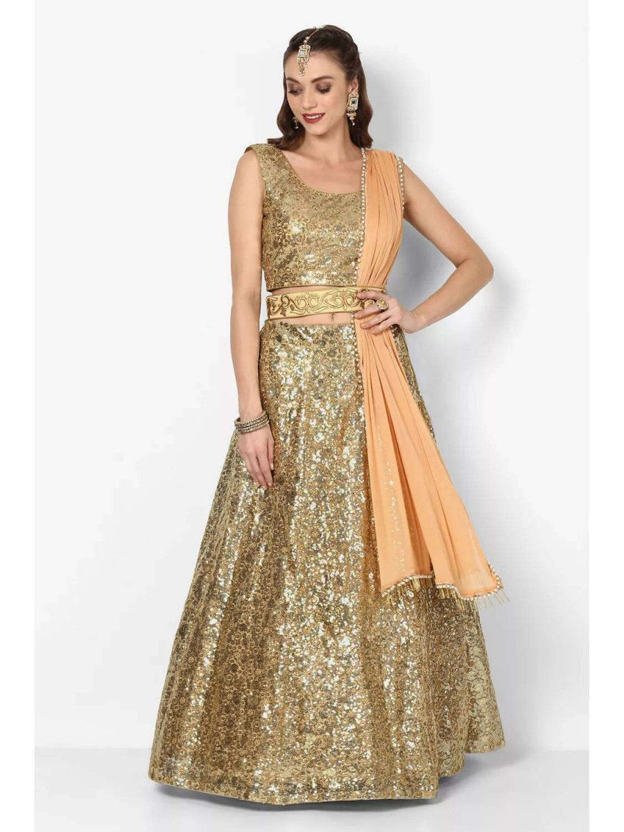 Gold Sequence Embroidered Art Silk Partywear Lehenga Choli