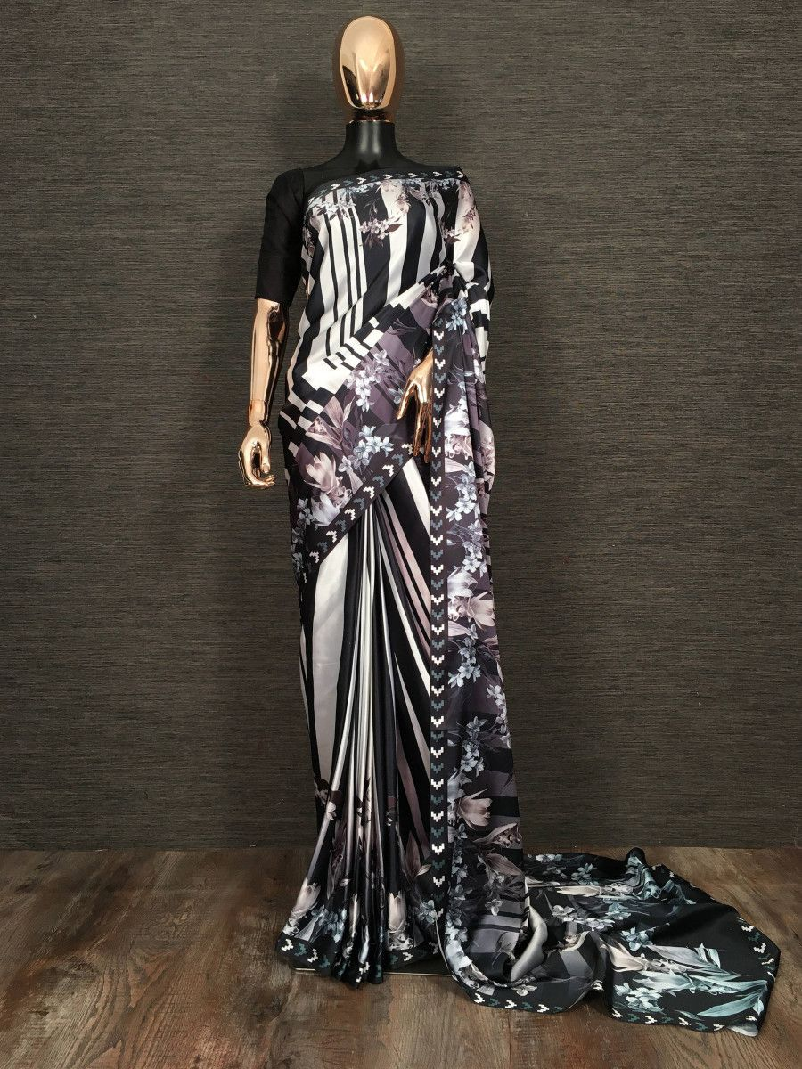 Black Floral Striped Satin Party Wear Saree With Blouse