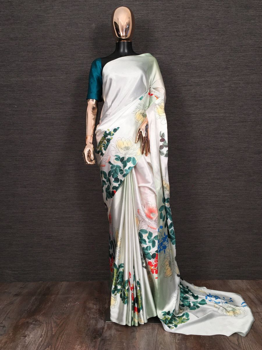 White Floral Printed Satin Festive Wear Saree With Blouse