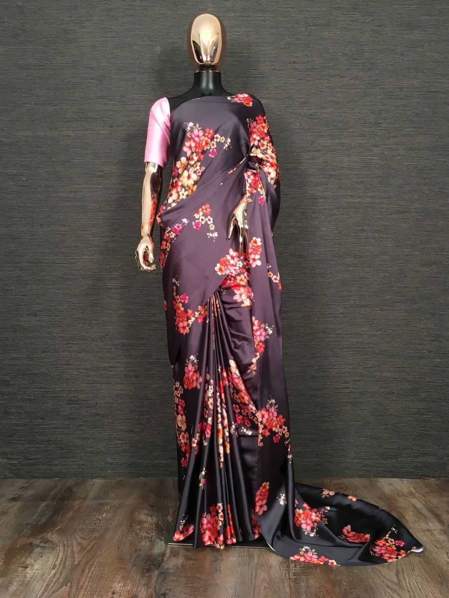 Wine Floral Printed Satin Festive Wear Saree With Blouse