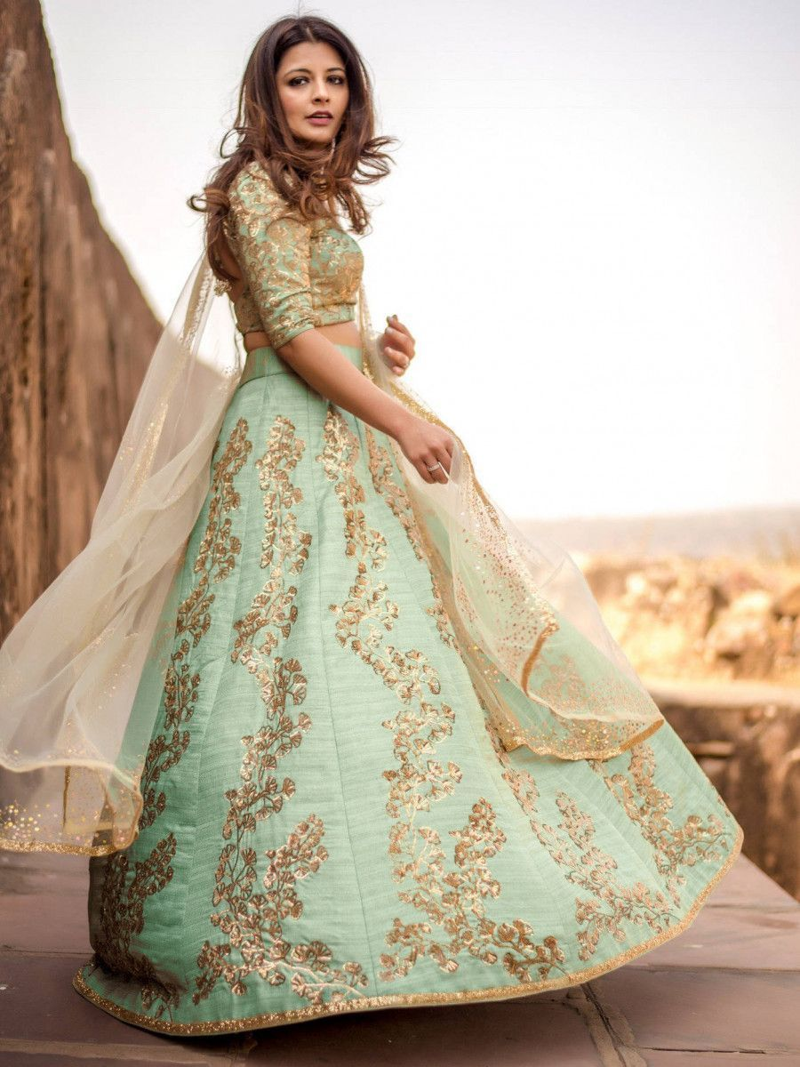 Pista Green Sequins Embroidered Wedding Wear Lehenga Choli
