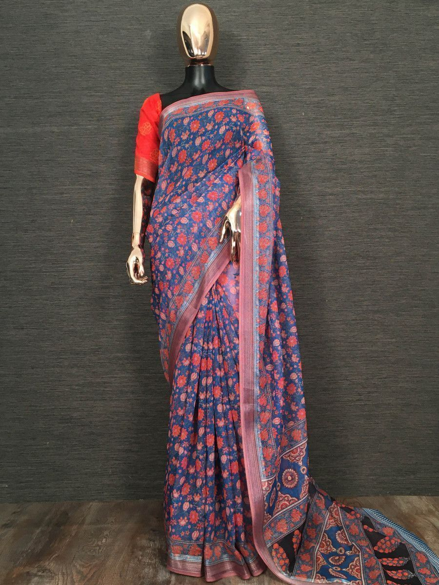 Blue Floral Printed Linen Festive Wear Saree With Blouse