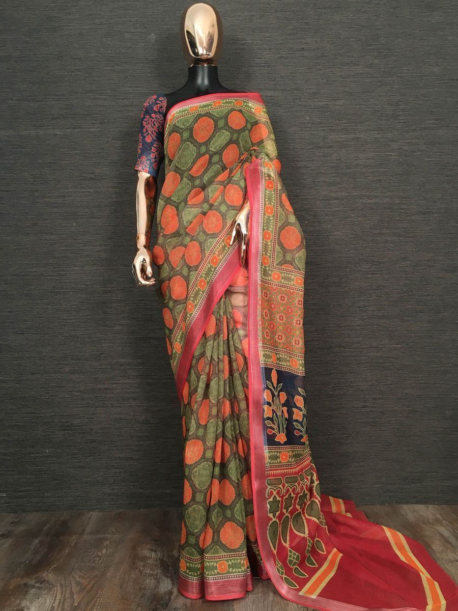 Green Floral Printed Linen Festive Wear Saree With Blouse