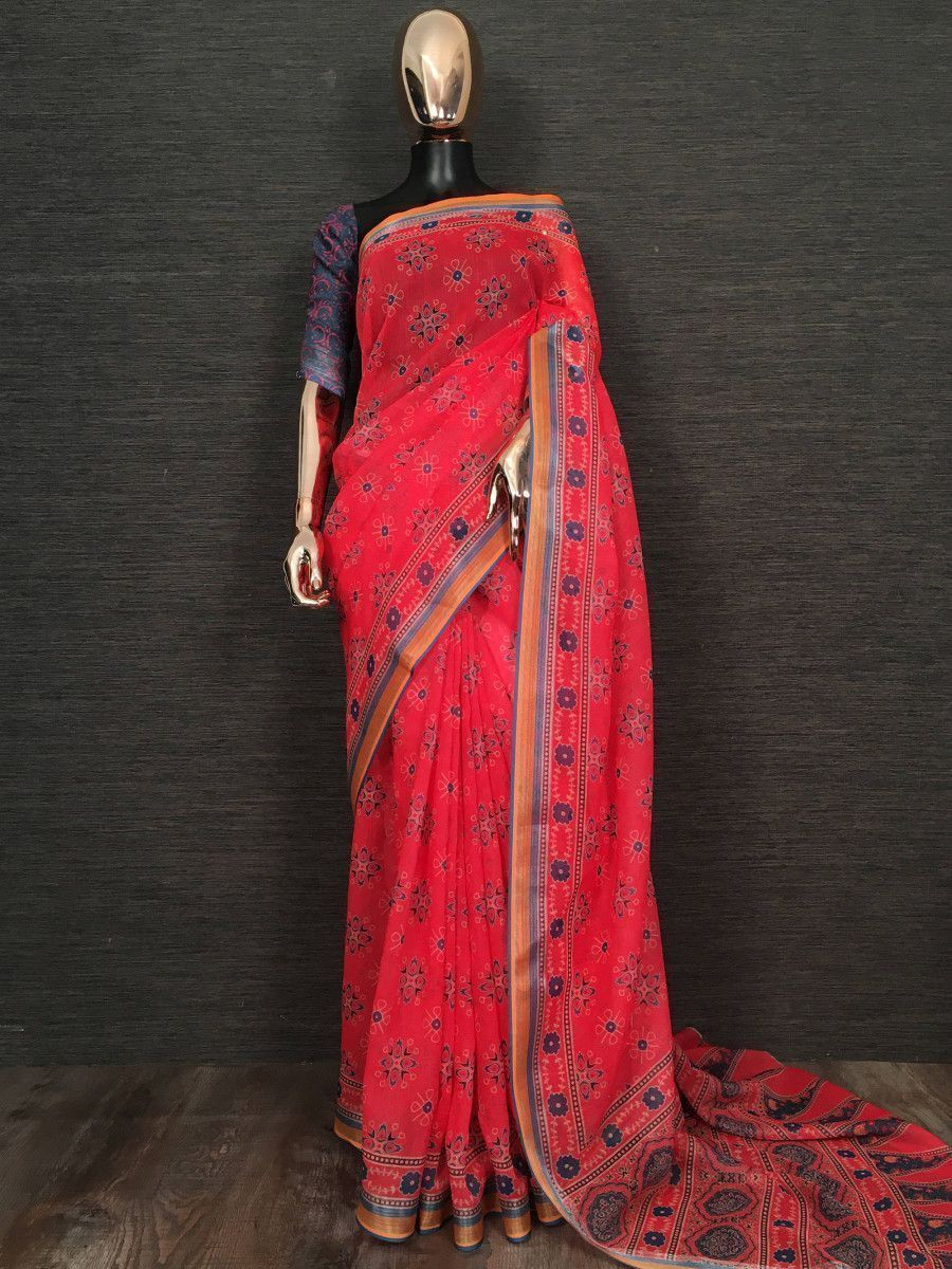 Red Printed Linen Festive Wear Saree With Blouse
