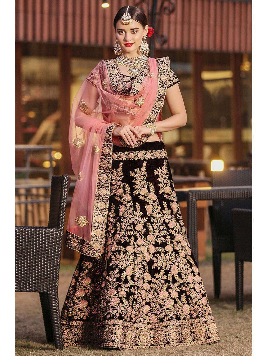 Maroon Embroidered Pure Velvet Bridal Wedding Lehenga Choli for Women