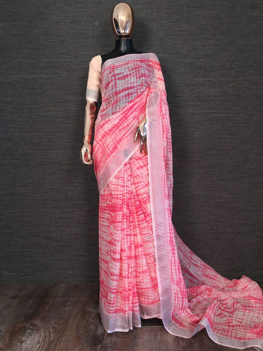 Light Pink Printed Linen Festival Wear Saree With Blouse