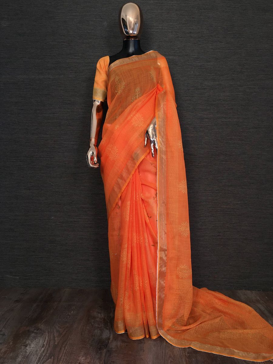 Orange Printed Linen Festival Wear Saree With Blouse