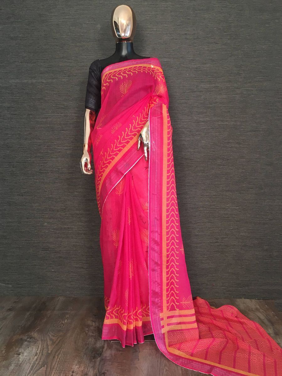 Pink Printed Linen Festival Wear Saree With Blouse