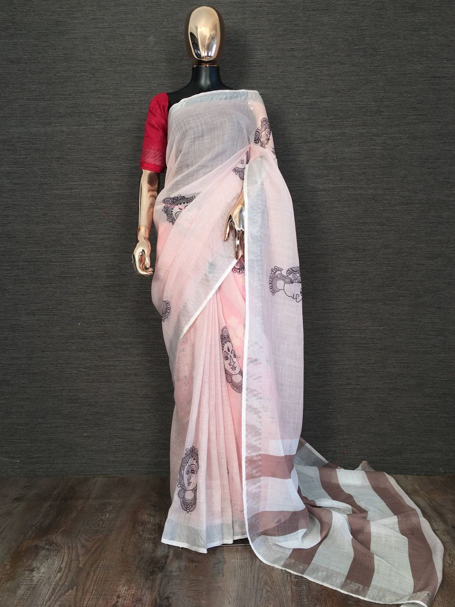 Light Peach Kalamkari Linen Festival Wear Saree With Blouse