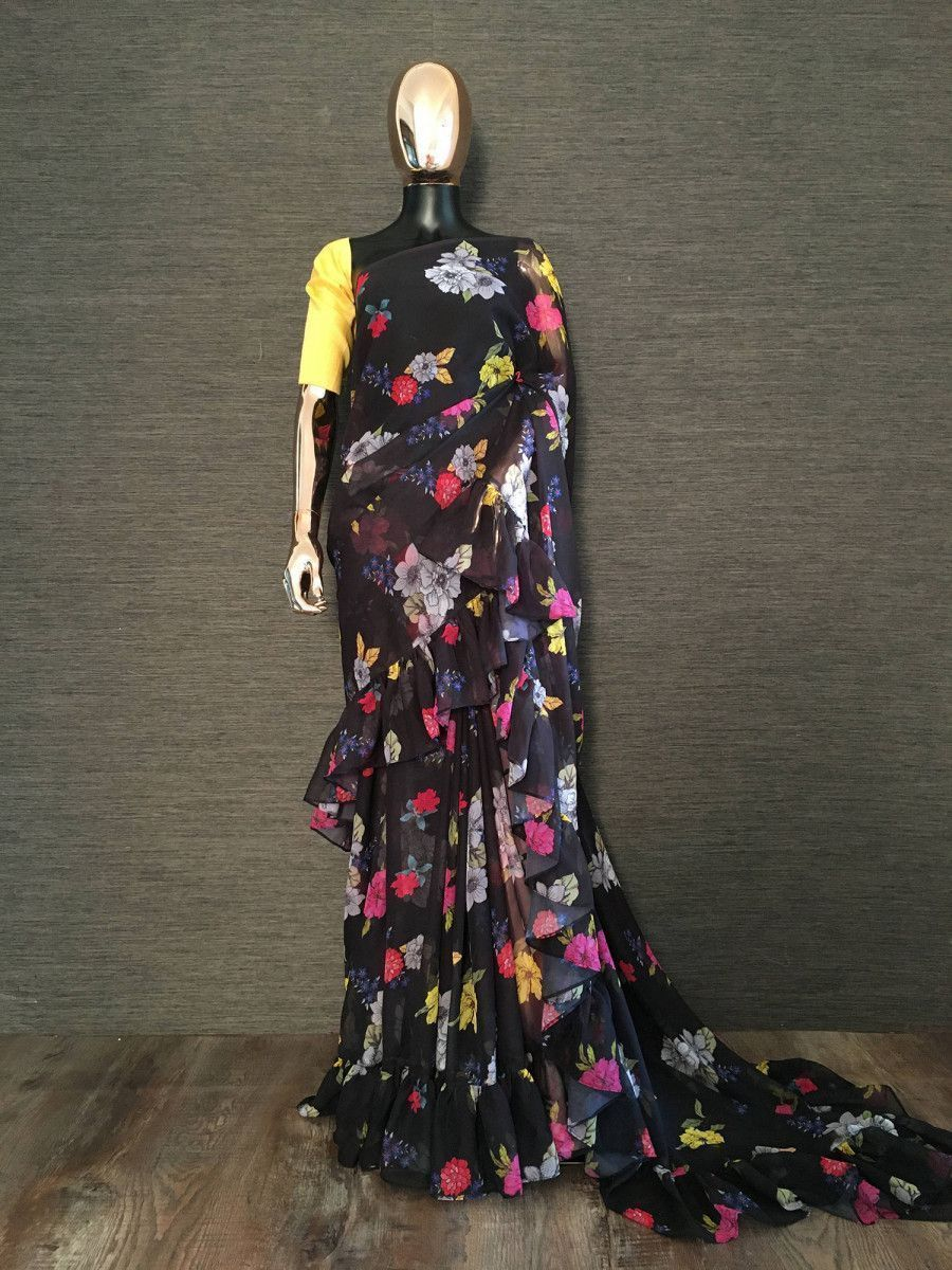 Black Floral Ruffle Georgette Party Wear Saree