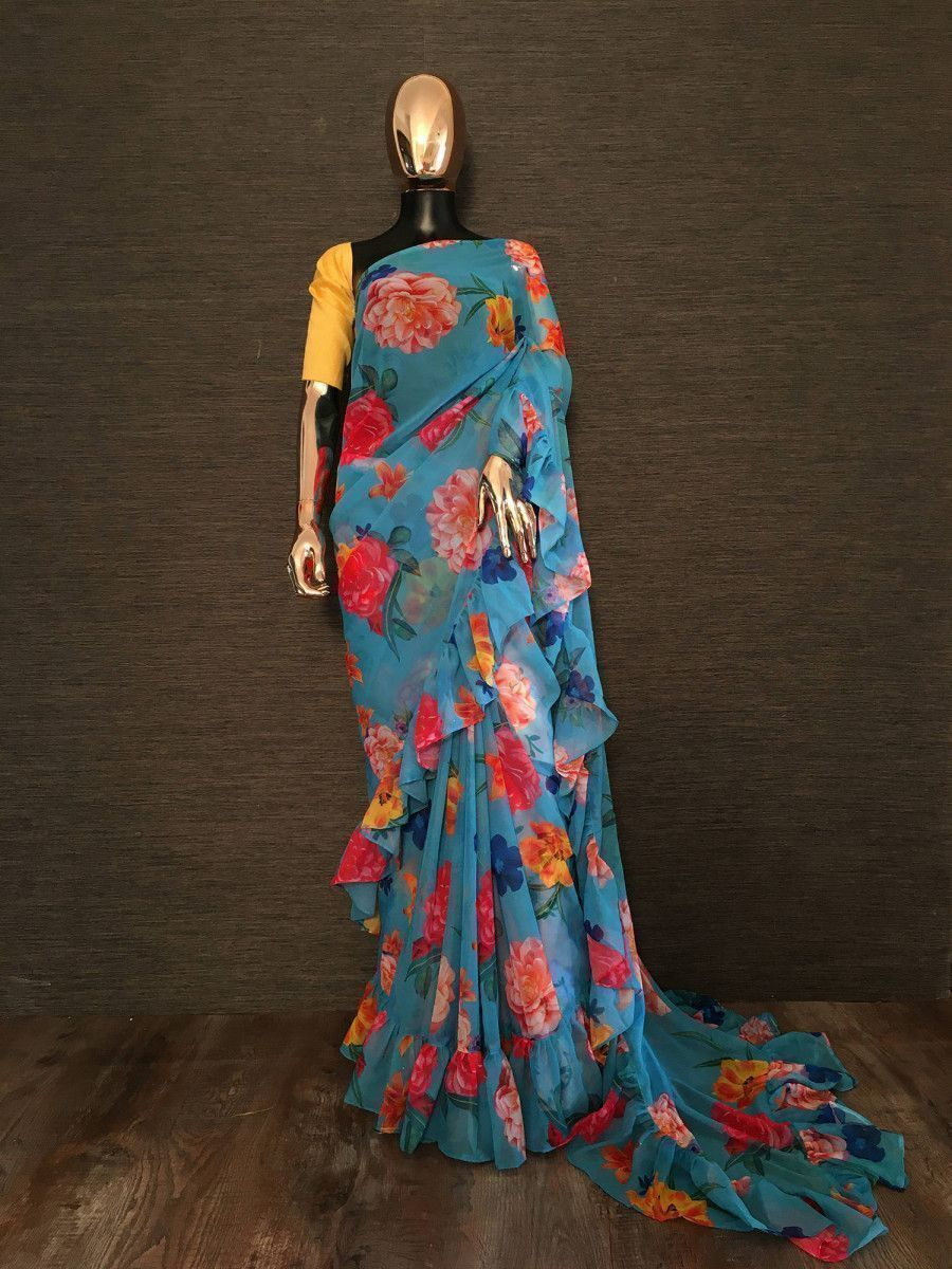 Sky Blue Floral Ruffle Georgette Party Wear Saree