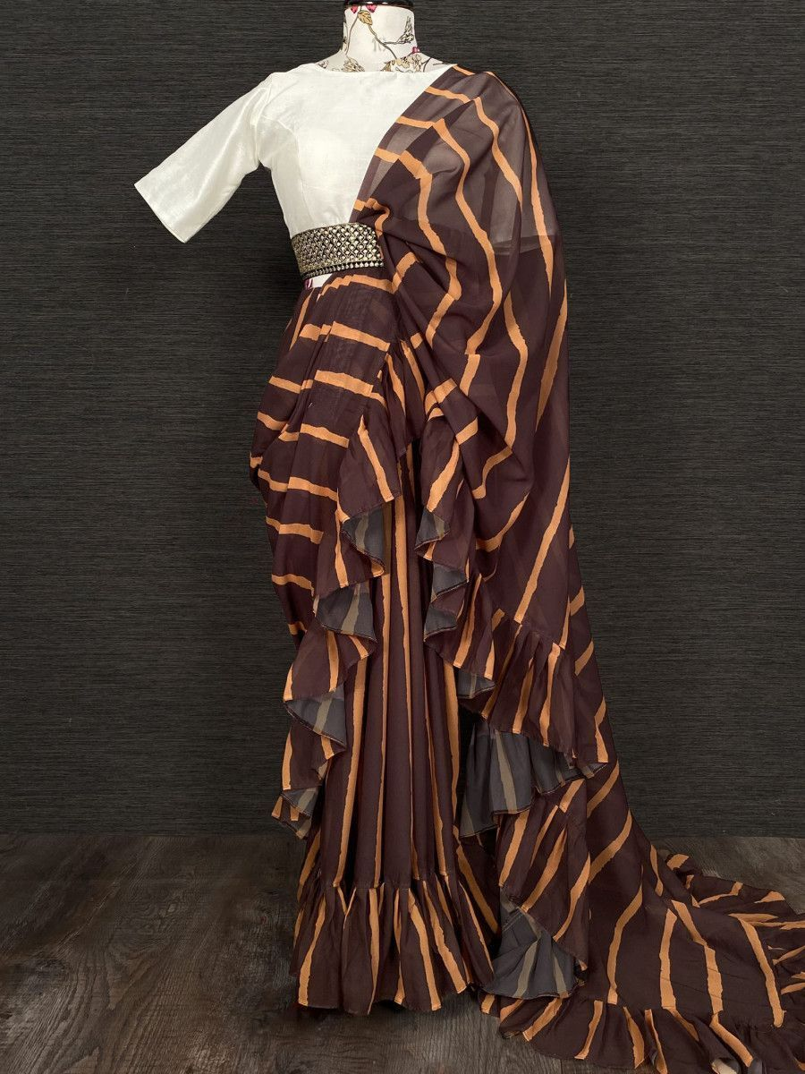 Brown Ruffle Georgette Party Wear Saree With Belt
