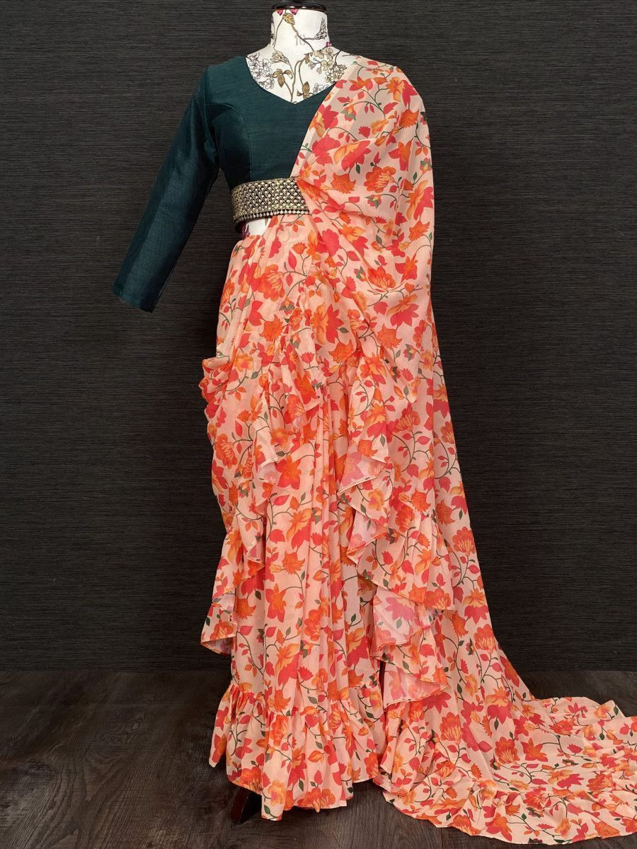 Peach Floral Ruffle Georgette Party Wear Saree With Belt