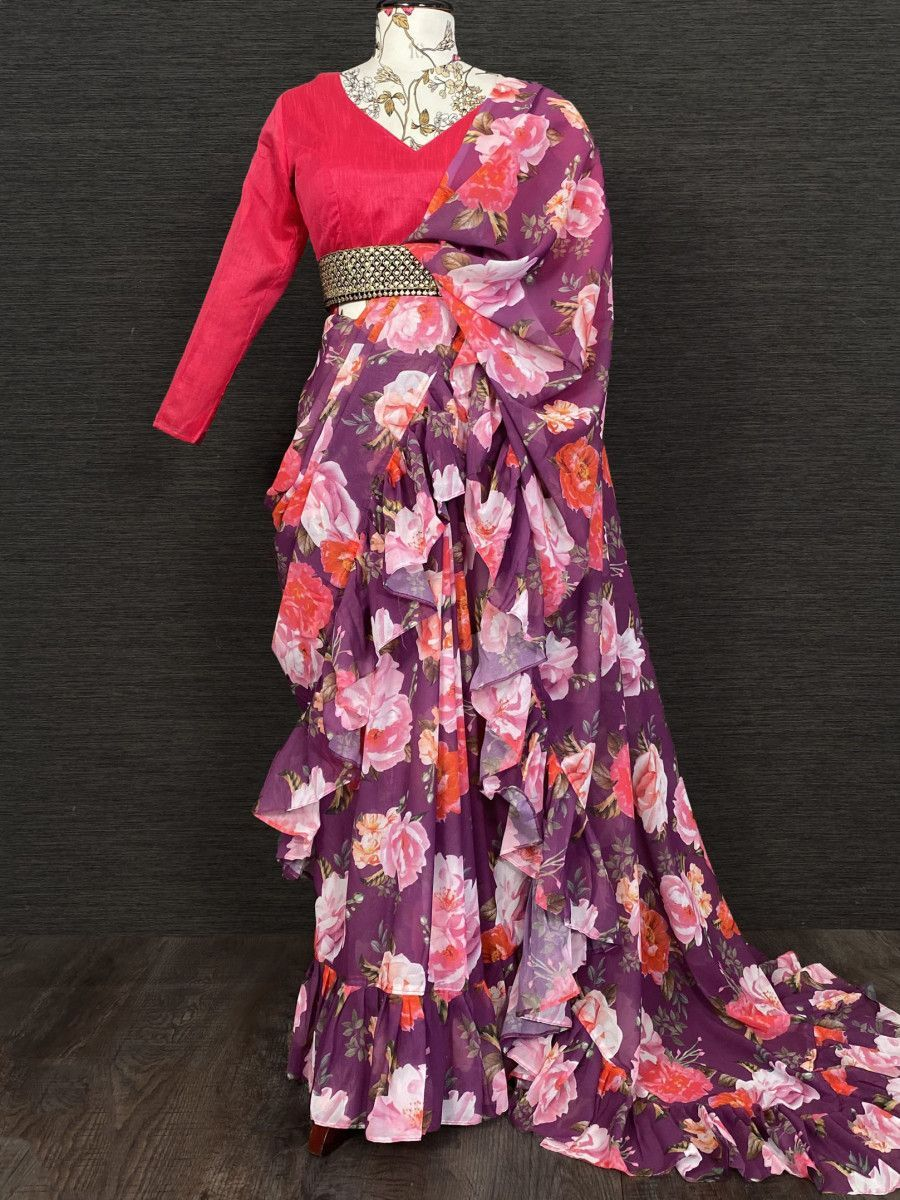 Purple Floral Ruffle Georgette Party Wear Saree With Belt
