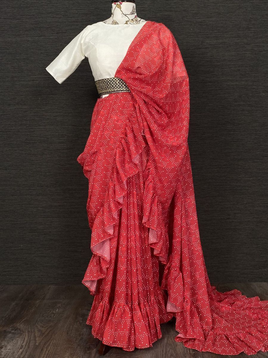 Red Ruffle Georgette Party Wear Saree With Belt