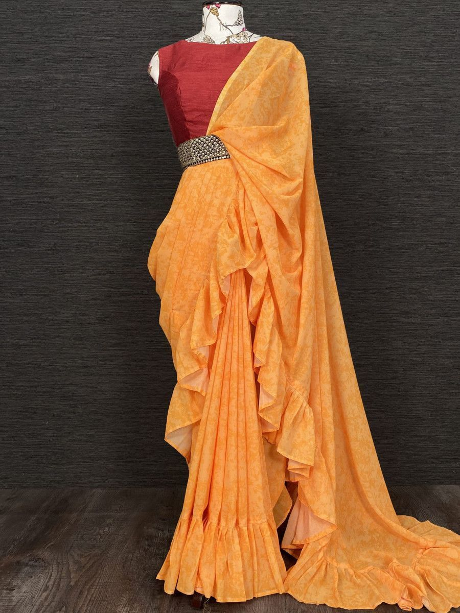 Yellow Ruffle Georgette Party Wear Saree With Belt