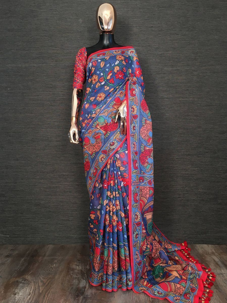 Blue Kalamkari Printed Linen Festive Saree With Blouse