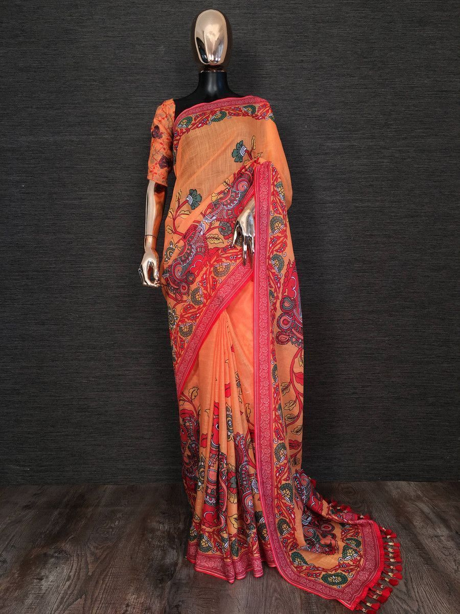 Orange Kalamkari Printed Linen Festive Saree With Blouse