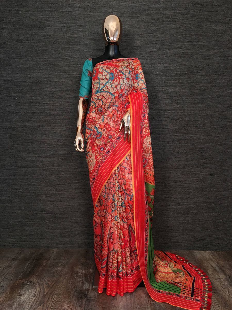 Red Kalamkari Printed Linen Festive Saree With Blouse