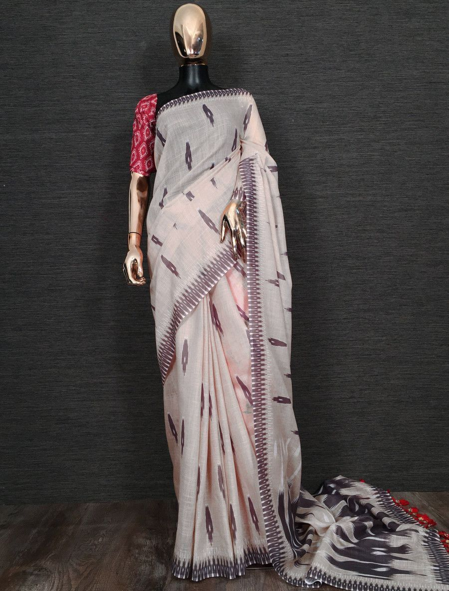 Cream Printed Linen Festive Wear Saree With Blouse