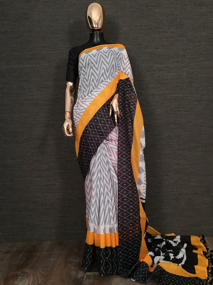 Grey Printed Linen Festive Wear Saree With Blouse