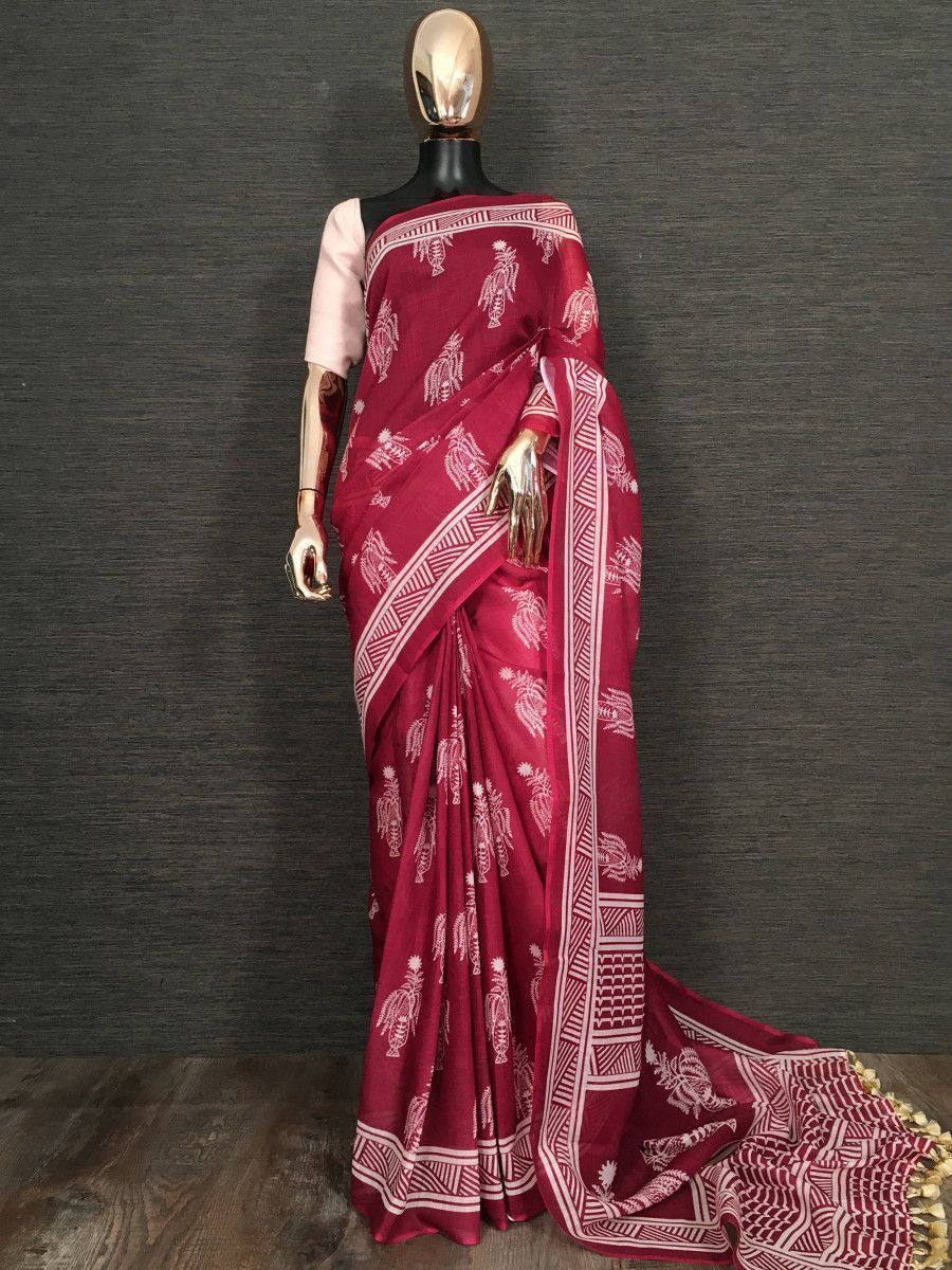 Maroon Printed Linen Festive Wear Saree With Blouse