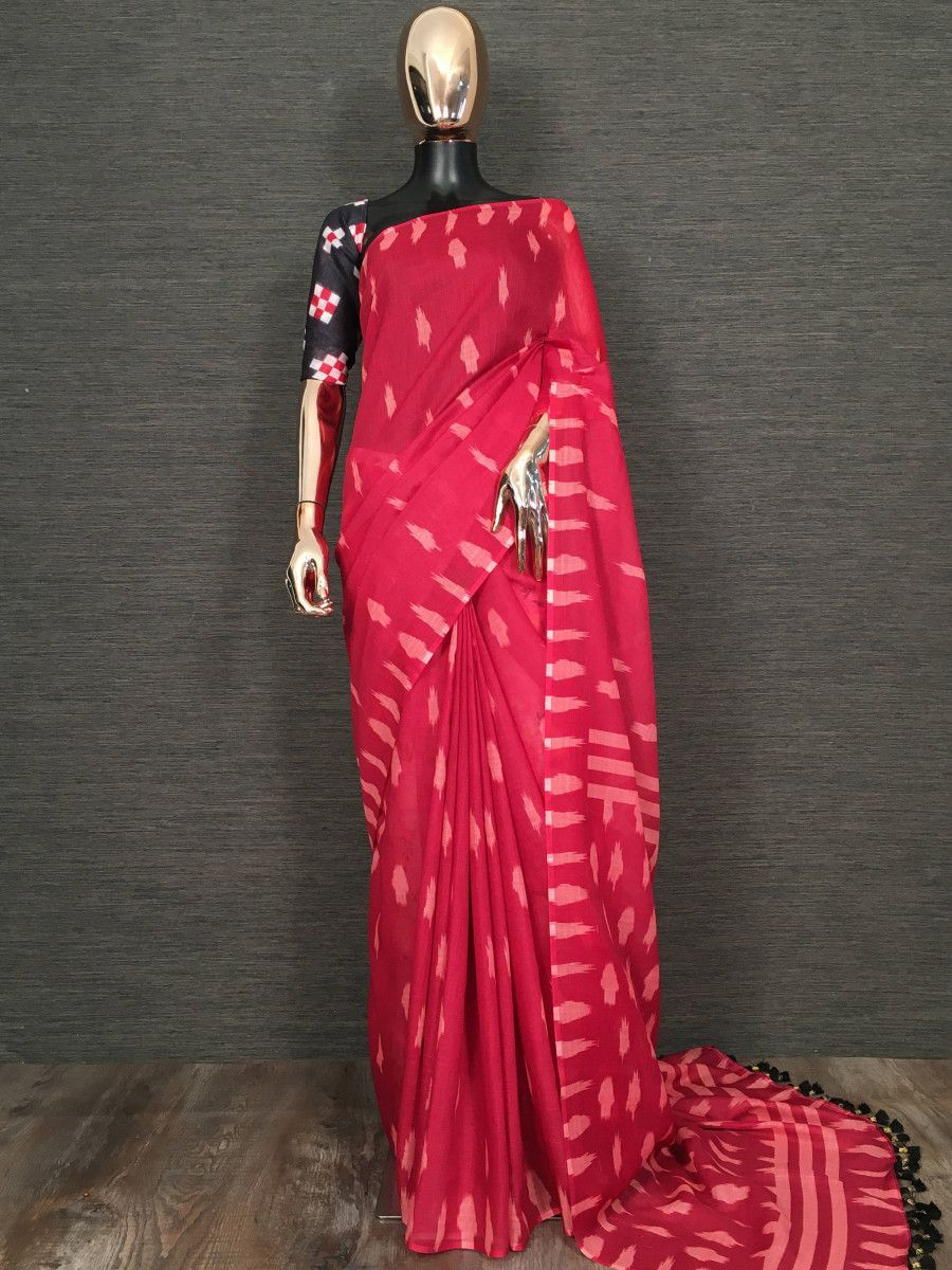 Red Printed Linen Festive Wear Saree With Black Blouse