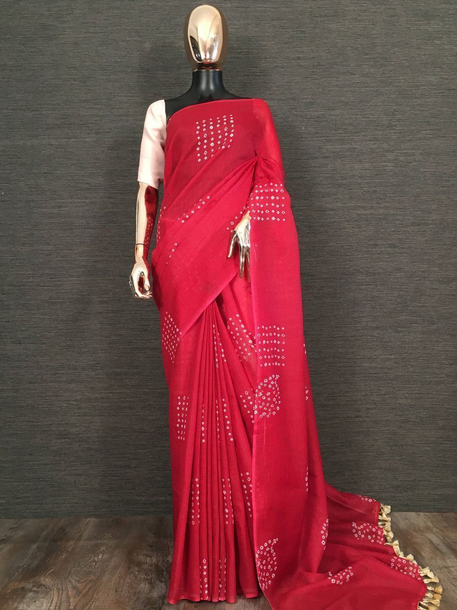 Red Printed Linen Festive Saree With Blouse