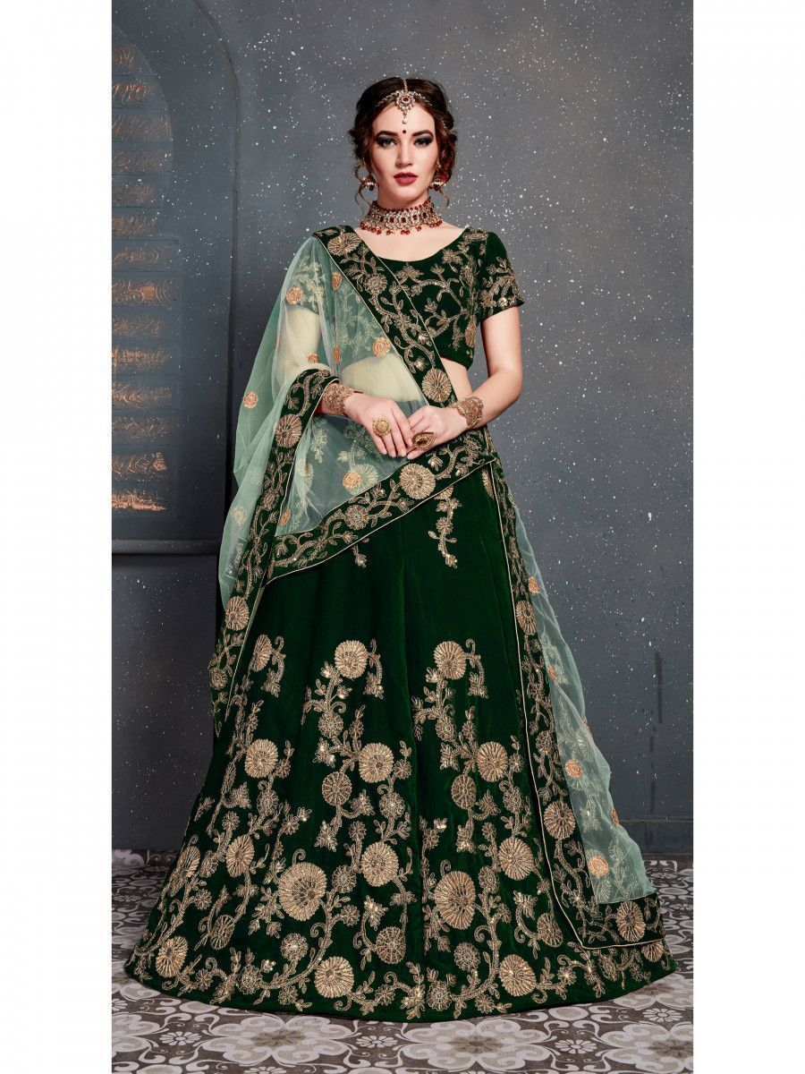 Bottle Green Embroidered Velvet Bridal Lehenga Choli