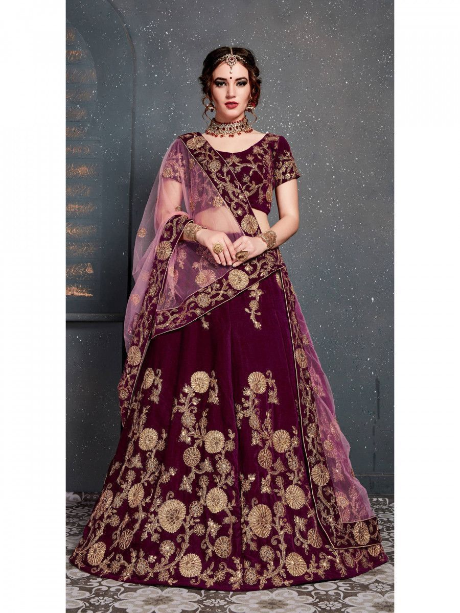 Purple Embroidered Velvet Wedding Lehenga Choli