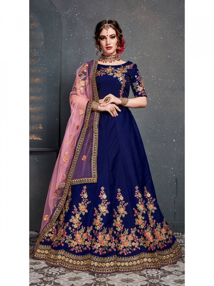 Navy Blue Embroidered Taffeta Silk Bridal Lehenga Choli With Dupatta
