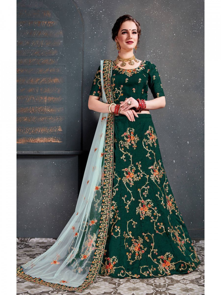 Green Embroidered Taffeta Silk Bridal Lehenga Choli
