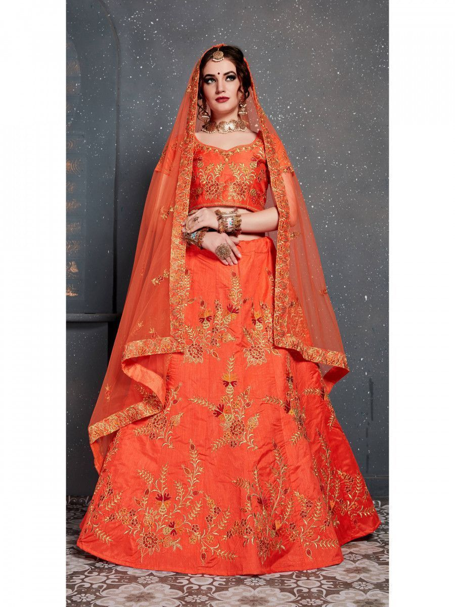 Orange Embroidered Silk Wedding Lehenga Choli